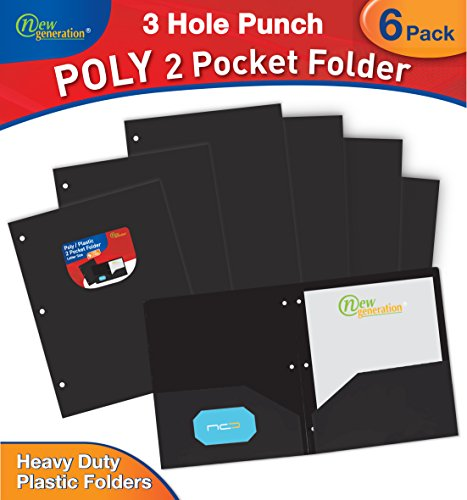 New Generation - BLACK 6 PACK 2 Pocket Poly / Plastic Folder 3 HOLE PUNCHED, Heavy Duty , Sturdy and Waterproof Folder for Office and School, with built-in slots for business cards. (BLACK)