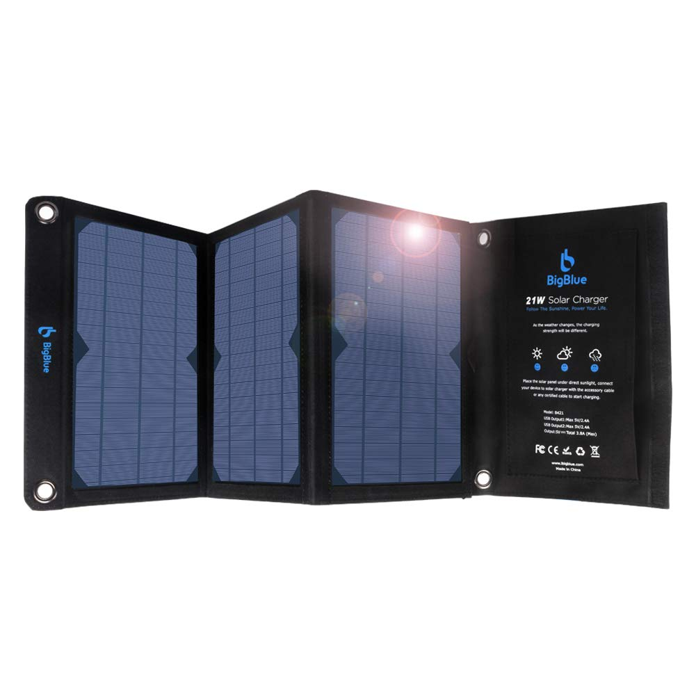 BigBlue 21W Solar Charger with Dual USB Ports(3.8A Max Total), Foldable Waterproof Outdoor Solar Panels Charger Compatible with iPhone Xs XS Max XR X 8 7 Plus, iPad, Samsung Galaxy S9 S8, LG etc. by BigBlue