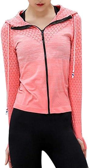 Emmay sportowa kurtka z dzianiny, szybkoschnąca, czerwona kurtka treningowa, niebieska, istotna, czarna, rÓżowa, bluza z kapturem i zamkiem błyskawicznym z długim rękawem funkcyjna oddychają