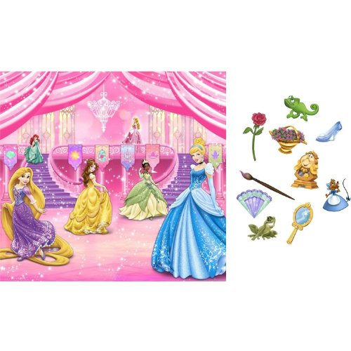 New Art DISNEY PRINCESS SCENE SETTER Birthday Party Wall Decoration BACKDROP Photo Props -