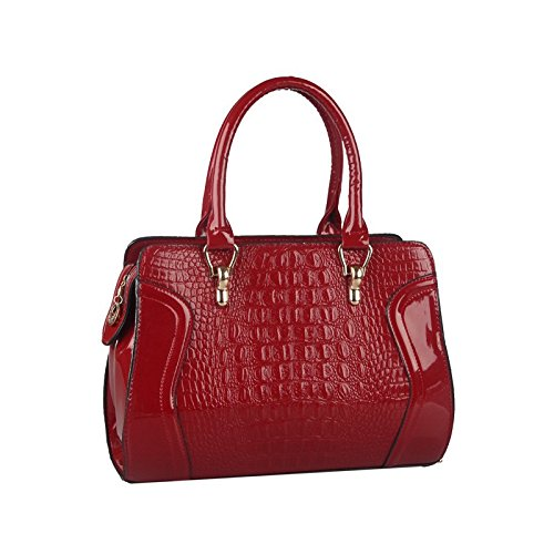 Desklets Women's Vintage Bear Decorate Tote Bags Top Handle Handbag(WineRed)