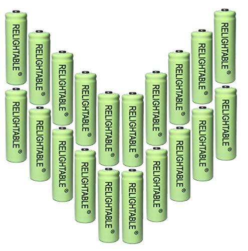 RELIGHTABLE AA NiMh 600mAh 1.2V Rechargeable Batteries for Solar Garden Lights (Pack of 20)