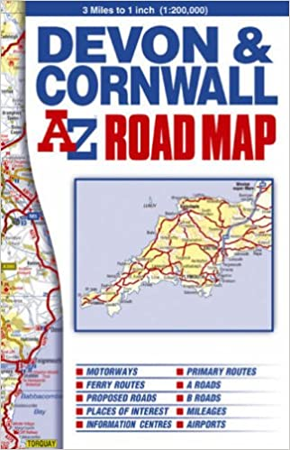 devon cornwall road map amazoncouk geographers a z map company 9781843485322 books