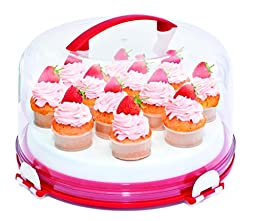 Mrs. Fields Dessert Diva All-in-One Dessert Carrier and Server, Red