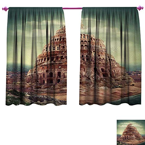 Anniutwo Fantasy Drapes for Living Room Tower of Babel with