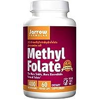 Jarrow Formulas Methyl Folate 5-MTHF, Compatible con Brain, Memory, Cardiovascular Health, 400 Mcg, 60 Caps