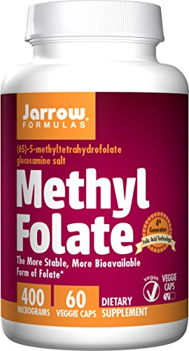 (Jarrow Formulas Methyl Folate 5-MTHF, Supports Brain, Memory, Cardiovascular Health, 400 Mcg, 60 Caps)