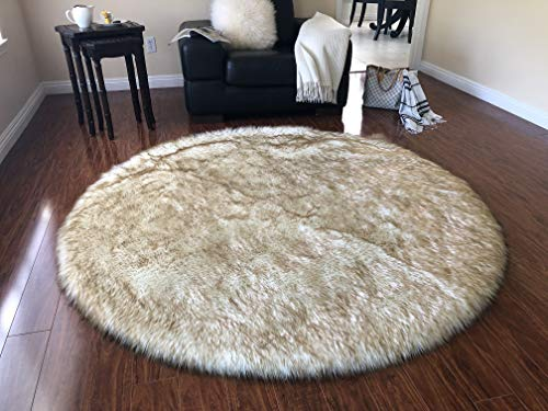 Super Soft Faux Sheepskin Silky Shag Rug, Round (6', White with Brown Tips) (Rug Shag Leather Round)