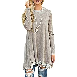 Andaa Women's Crew Neck Long Sleeve Lace Splicing Swing Shirt Dresses Long Tunic Blouses Shirts for Leggings