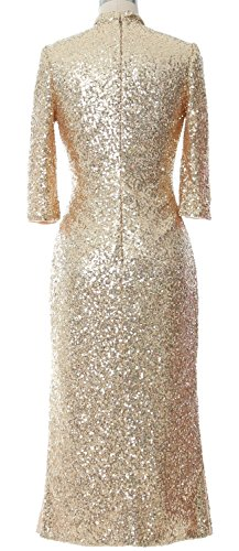MACloth Women Sequin Tea Length Mother of Bride Dress Formal Evening Party Gown Light Gold