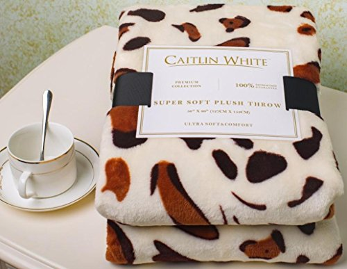 Multi Polka Dot Print (Caitlin White Throw Blanket for Couch/Sofa/Bed, Luxury Super Soft Microplush Velvet, 50