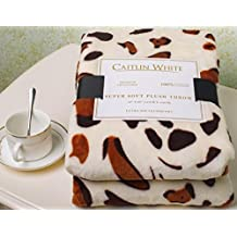"""Caitlin White Throw Blanket for Couch/Sofa/Bed, Luxury Super Soft Microplush Velvet, 50""""x60"""", Leopard Print"""