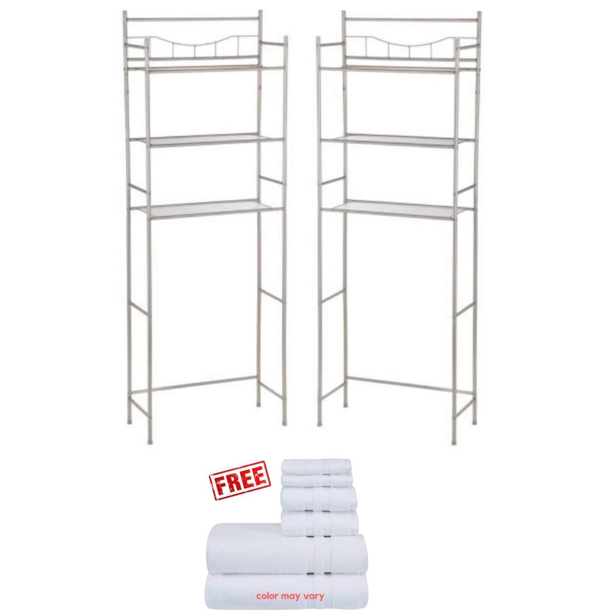 Satin Nickel 3-Shelf Bathroom Space Saver Storage Organizer Over The Rack Toilet Cabinet Shelving Towel Rack Mainstay.