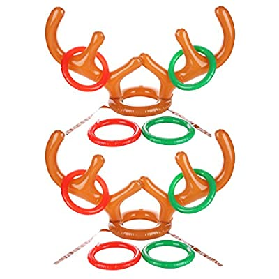 Uniqhia Two-Player Inflatable Reindeer Antler Ring Toss Game for Christmas party - Christmas Gift - Game Rules Included (2 Antlers 8 Rings)