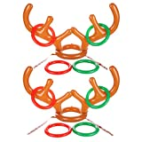 Uniqhia Two-Player Inflatable Reindeer Antler Ring Toss Game for Christmas Party, Christmas Gift, Game Rules Included, 2 Antlers, 8 Rings