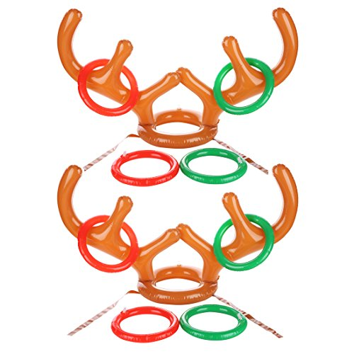 Uniqhia zy-Antler Ring Toss Game Two-Player Inflatable Reindeer Antler Ring Toss Game for Christmas Party,, Game Rules Included, 2 Antlers, 8 Rings