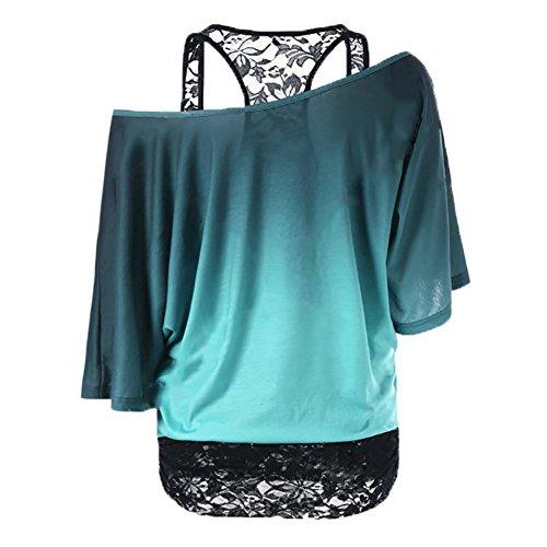 Femme Tshirt manches longues Sweat-shirt + Gilet en dentelle - Hibote Femmes 2 pièces Chemises Slim Gilet Oversize Chemise Sexy Off épaule Blouse Baggy Tops Bleu Noir Violet Vert S M L XL XXL