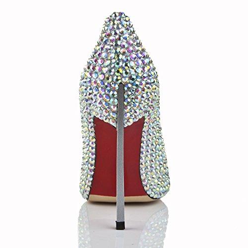 Tda Delle Argento Ma1267 Stiletto Donne Di Matrimonio Cristalli Pelle Della Tacco Sera Scarpe Alto wZt5q7aIIx