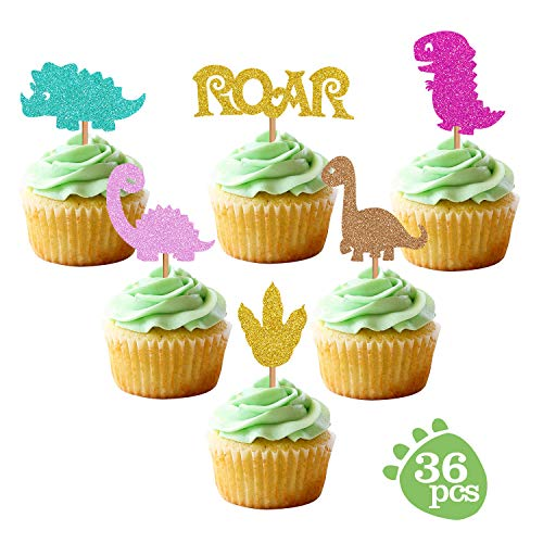 Price comparison product image Baby Dinosaur Cupcake Toppers,  Glitter Dinosaur Cupcake Toppers for Kids Birthday Baby Shower Party Decorations Supplies (36 Pack)