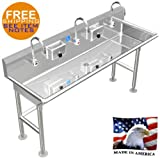 ADA HAND WASH SINK 3 STATION 60'' ELECTRONIC FAUCET FREE STANDING STAINLESS STEEL