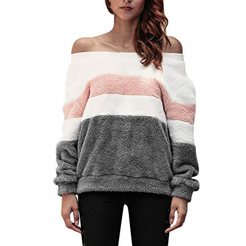 Women's Winter Sweaters,Sunyastor Sexy Striped Off Shoulder Patchwork