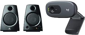 Logitech 3.5mm Jack Compact Laptop Speakers, Black (Z130) & C270 Desktop or Laptop Webcam, HD 720p Widescreen for Video Calling and Recording