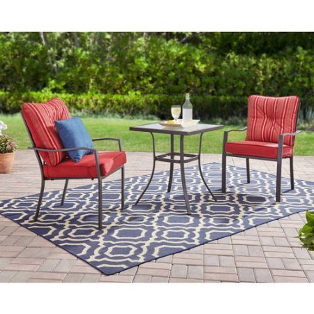 Mainstays Forest Hills 3-Piece Bistro Set (Red)