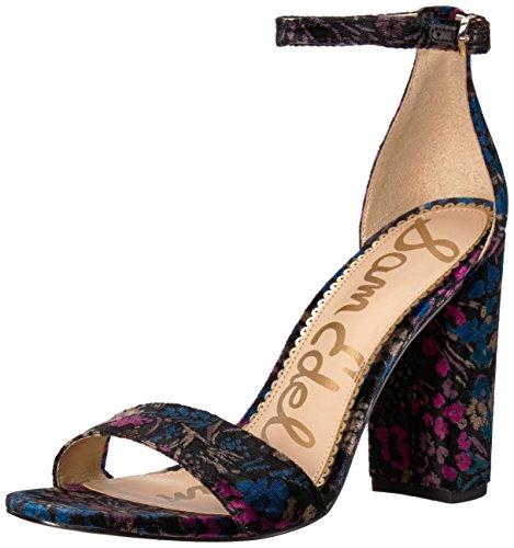 Sam Edelman Women's Yaro Heeled Sandal, Black/Multi Basilica Floral Velvet, 9.5 M US ()