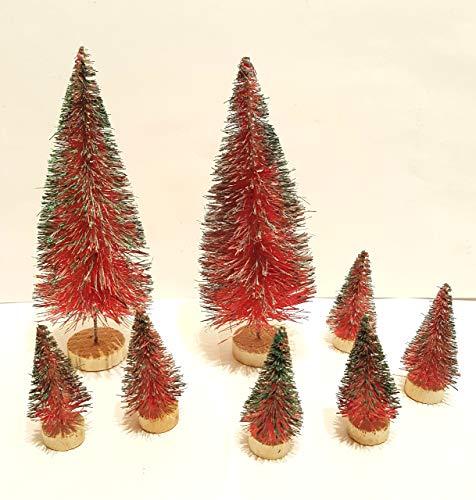 (Very Vintage N More 8 Tartan Plaid Miniature Sisal Bottle Brush Snow Flocked Country Rustic Christmas Trees)
