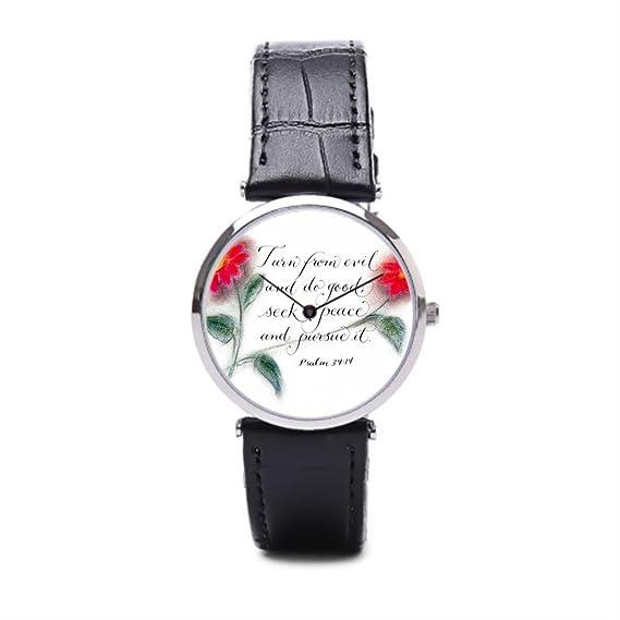Versículo de la Biblia puppya barato reloj de pulsera correa de piel relojes manuscritas negro/plata: Amazon.es: Relojes