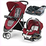 Chicco Viaro Stroller Travel System with Extra Ketyfit 30 Base – Cranberry/Anthracite