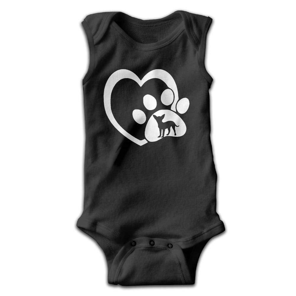 Dog Heartbeat Chihuahua Baby Newborn Crawling Suit Sleeveless Onesie Romper Jumpsuit Black