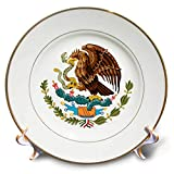 3dRose Carsten Reisinger - Illustrations - Mexico Coat of Arms - 8 inch Porcelain Plate (cp_294730_1)