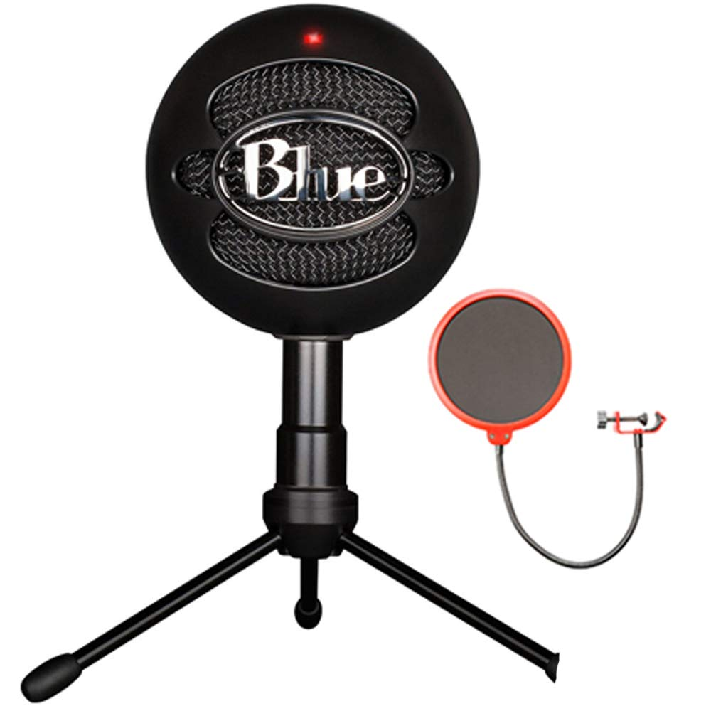 Blue Microphones Snowball iCE Versatile USB Microphone - Black (SNOWBALL iCE Black) with Universal Pop Filter Microphone Wind Screen with Mic Stand Clip by Blue Microphones