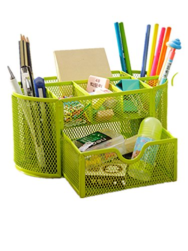 Space Saving Desk Tidy Multi-functional Metal Wire Mesh 9 Compartment Office / School Supply Desktop Organizer Caddy W/ Large Drawer (Green) ()