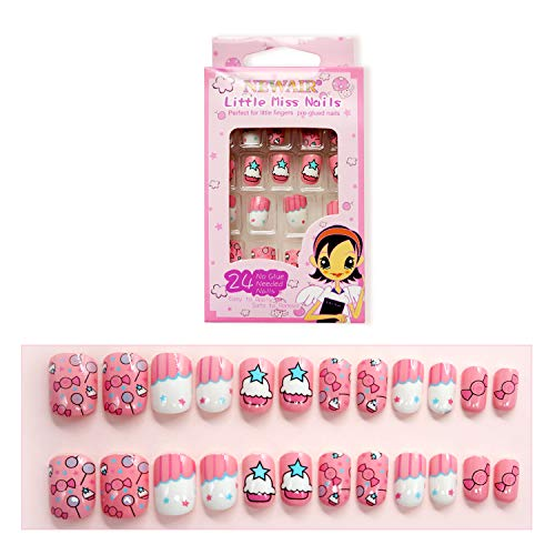 False Nails for Girls 24 Pcs Press On Kids Fake Nails Tips Candy Pattern