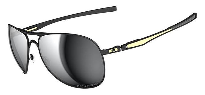 d2d361f1d7ef53 Oakley Mens Plaintiff OO4057-10 Polarized Round Sunglasses,Matte Black  Frame Grey Lens