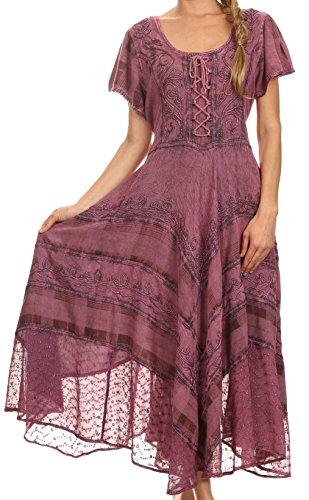 con vita lungo regolabile Sakkas vestito Rosa Mila ricamato corsetto protezione manicotto OnxCxBXP8w