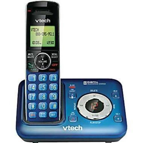 VTech CS6429-15 Dect 6.0 Cordless Phone with Digital Answering System and Caller ID, Expandable Up to 5 Handsets, Wall mountable, Blue (Blue House Phone)