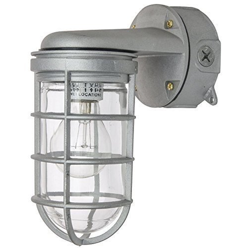 Ciata Lighting Wall Mount Vaporproof Industrial Fixture, Metallic Finish, Clear Lens, Aluminum wires ()