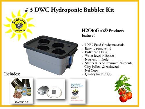 Complete Hydroponic System DWC BUBBLER kit #3-4 H2OtoGro For Sale
