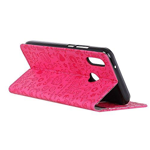 Lusee PU Caso de cuero sintético Funda para Xiaomi Redmi Note 5 Pro 5.99 Pulgada Cubierta con funda de silicona botón pequeña bruja negro pequeña bruja rojo rosa