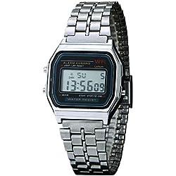 New Vintage Womens Men Watch Stainless Steel Digital Alarm Stopwatch Classic Silver WristWatch Men