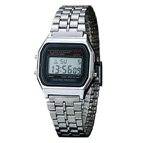 New Vintage Womens Men Watch Stainless Steel Digital Alarm Stopwatch Classic Silver WristWatch - Parts Oakley Repair