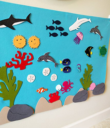 768e6e1bf90fc8 Felt Flannel Board Under The Sea Ocean Aquarium Fish Animals Deluxe Set  Giant 3.5 Ft ...