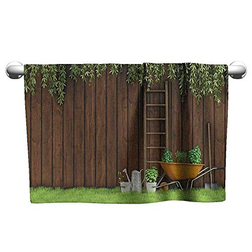 Farm House Decor Beach Activity Bath Towel Gardening Material Tools on The Backyard with Shovel and Bucket Print W10 x L39 Green Brown