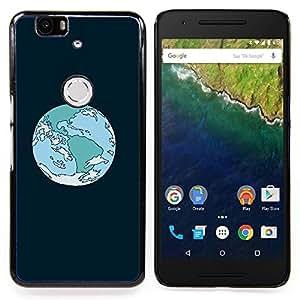 """Qstar Arte & diseño plástico duro Fundas Cover Cubre Hard Case Cover para Huawei Google Nexus 6P (Órbita de la Tierra de la historieta"""")"""