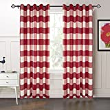 MICHELE HOME FASHION 50″ W x 63″ L 20 (Set Of 2 Panels) Custom 70% Blackout Striped Plaid Gingham Curtain Red Grommet Top Curtain for Kitchen,Bathroom,and Bedroom For Sale