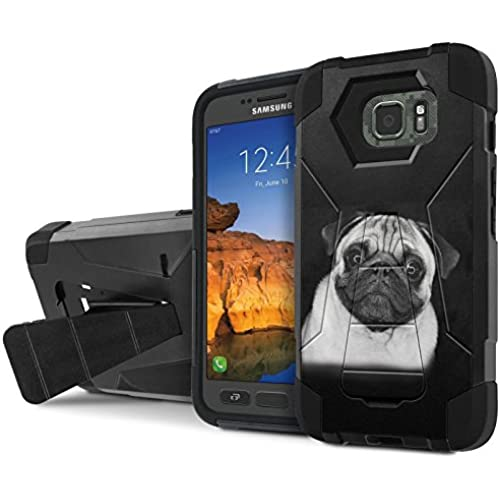 AT&T [Galaxy S7 Active] Armor Case [NakedShield] [Black/Black] Tough ShockProof [Kickstand] Phone Case - [Pug in Black and White] for Samsung Galaxy [S7 Sales