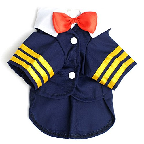 SELMAI Aircraft Uniform Small Dog Cat Navy Suit Costume with Red Bowknot Halloween Pet Puppy Summer Tee Shirts Cotton Breathable Clothes Blue S